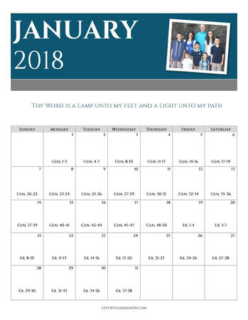 Family Bible Reading Calendar January 2018